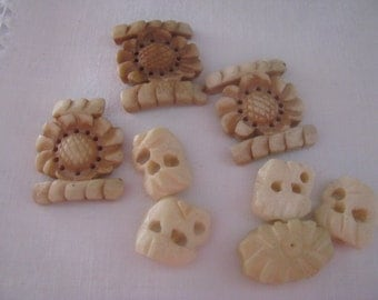 8 Vintage Bone Beads