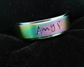 stainless steel pride ring, engraved rainbow ring, stamped rainbow ring, LGBT ring, Name rainbow ring, Pride ring, Colored stamped ring