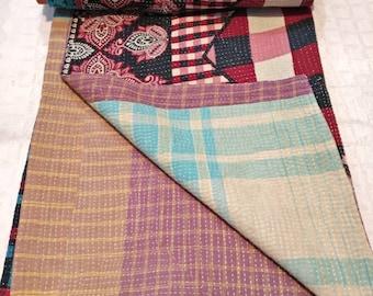 Reversible Best quality kantha quilt, Vintage bedding, boho sofa throw, Vintage sari kantha gudari