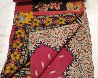 Vintage Reversible cotton kantha quilt, Boho kantha bedding, colorful Vintage sari kantha gudari