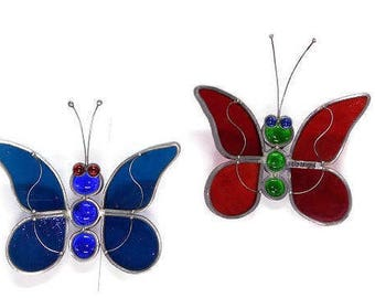 STAINED GLASS BUTTERFLY Wall Hanging Red Blue Set Handmade By Real Artist