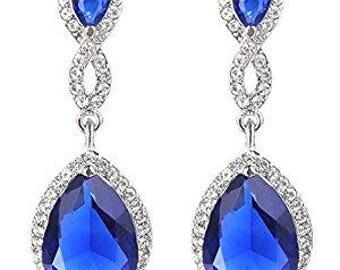 Blue Bridal Jewelry, Something Blue For Bride, Blue Bridal Earrings, Teardrop Earrings, Navy Blue Earrings, Sapphire Earrings