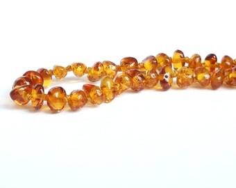 Dark cognac amber teething necklace natural baltic amber necklace for babies cognac amber baby necklace for teething eco baby gift