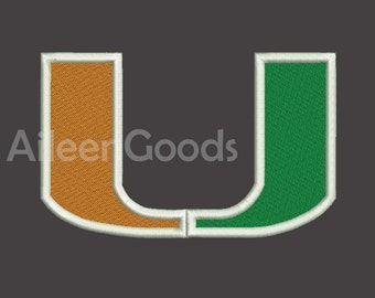 Miami Hurricanes Embroidery design 8 Size 7 File INSTANT download machine embroidery