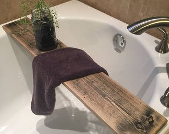 Unique Wood Stained Bathtub Caddy