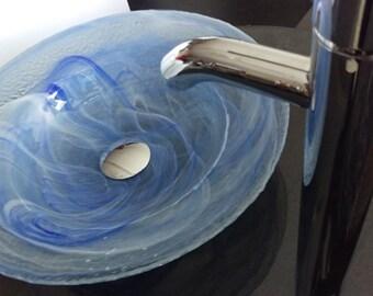 "15"" Light Blue Modern Contemporary Glass Bathroom Vessel Sink Semi Transparent Sky"
