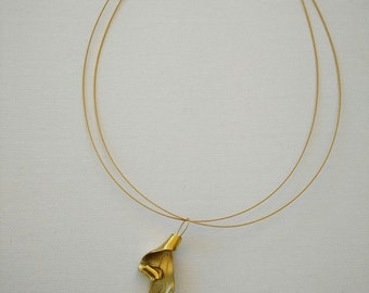 Brass Handmade Necklace, Gold Wire, Pearl