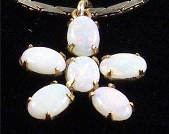 Vintage Gold Toned Fiery Opal Cluster Gemstone Floral Flower Pendant