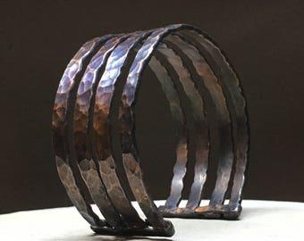 Hammered Copper Four-Banded Cuff Bracelet
