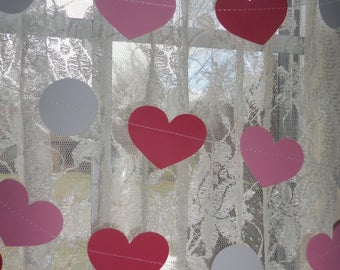 Heart Paper Garland, Pink and Red Heart Garland, Disc Garland, Valentines Banner, Love Banner, Love Decorations, Wedding Decorations