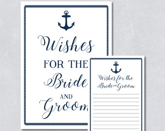 Wishes for the bride and groom card / Bridal shower game / Nautical navy blue / Anchor / Beach themed / DIY Printable / INSTANT DOWNLOAD