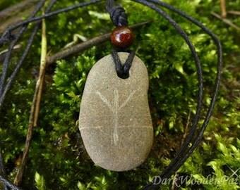 Algiz Rune amulet stone