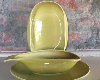 Russel Wright Chartreuse Serving Pieces // 1950's // 3 Piece Serving Set
