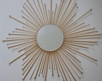 """30"""" Flower Design Sunburst Mirror"""