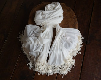 Large and Elegant white scarf  1 of 1