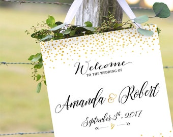Modern Wedding Sign, Gold polka dot wedding sign, Gold Confetti Wedding Welcome Sign, Navy and Gold, Wedding welcome sign - US_WS0201