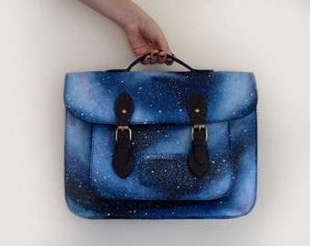 Hand Painted Bespoke Galaxy/Space Satchel Bag