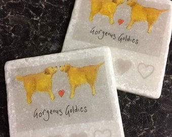 Gorgeous Goldies! Set of 4 Marble Coasters