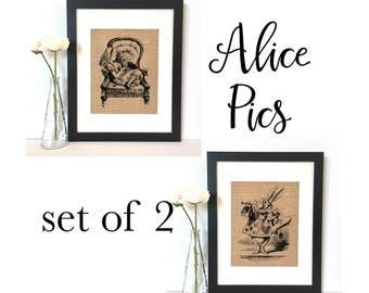 Alice Wonderland Pics Burlap Print // Rustic Home Decor // White Rabbit // Alice
