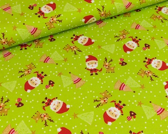 Cotton Jersey Christmas light green/multi colored (18.90 EUR / meter)
