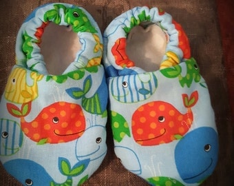 Whale Cloth Baby Booties