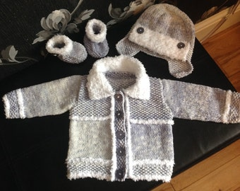 Handknitted baby boys set jacket hat booties cotton 0-6 mths