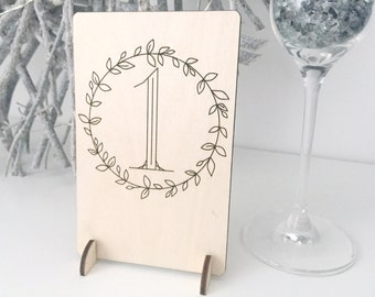 Wooden Table Numbers - Wedding Table Numbers - Wedding Stationery  - Wedding Decoration - Event Table Number - Rustic Wedding - Laser Cut
