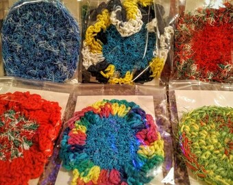 The Crobby... the crocheted scrubby, crocheted scrubby pad, scouring pad, non-abrasive scrub pad, face wash,  golf club cleaning  pad