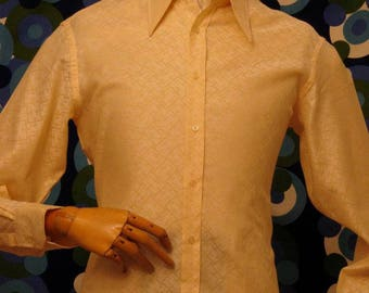 Unworn original Swinging 60's Italian self embossed shirt stated 42/16.5-17 and 44/17.5 collar