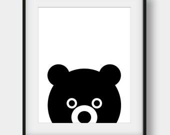 60% OFF Baby Bear Print, Kids Room Decor, Black Bear Poster, Nursery Print, Nursery Decor, Nursery Bear Printable Art, Scandinavian Print
