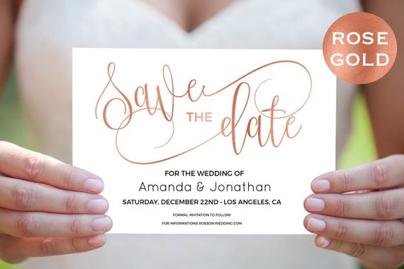 rose gold save the date cards