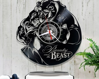 Beauty and the Beast Vinyl Clock| Disney Record Clock| Original Clock 1/3/3| Lp Clock| Chritmas Gift| Kids Room Decor| Gift for Baby Girl