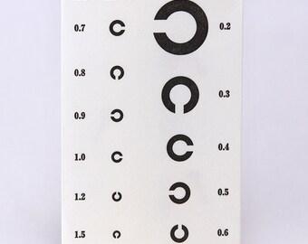 3pcs Japanese paper mini envelope  VISION TEST by letterpress