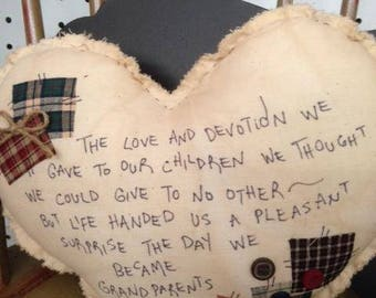 Large tea stained muslin HEART with verse