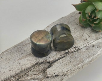 Labradorite plugs, organic stone plugs, stone body jewelry, flared ear plugs, organic stone stretchers, handmade plugs, stone plugs 12mm