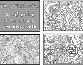 black white coloring postcards