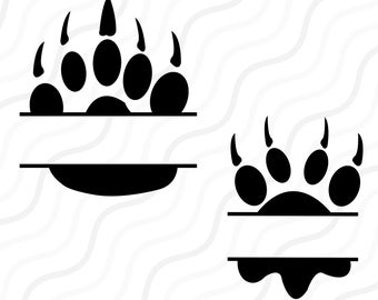 Split Paw SVG, Paw Monogram SVG, Paw Print SVG Cut table Design,svg,dxf,png Use With Silhouette Studio & Cricut_Instant Download