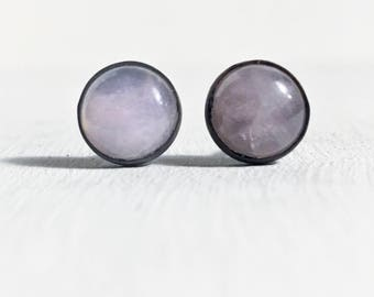 Rose quartz cabachon stud in black oxidized copper settings 8mm minimalist earrings