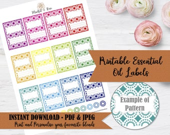 Printable Essential Oil Labels - 10ml Rollerball Labels Circle Geometric Pattern in Bright Rainbow Colors