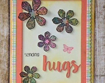 Sending Hugs card, Love you card, handmade greeting card, love cards, just because cards, thinking of you cards, love always, general cards