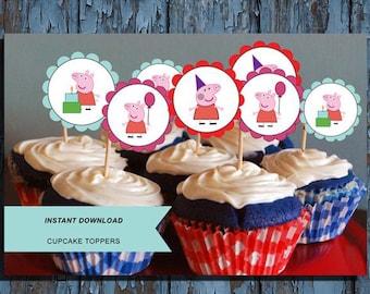 Peppa pig, peppa pig birthday, peppa pig party, peppa pig cupcake toppers, peppa pig theme, peppa pig printables, peppa pig  cupcake, peppa