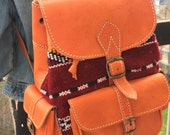 Small Moroccan handmade Orange unisex leather backpack