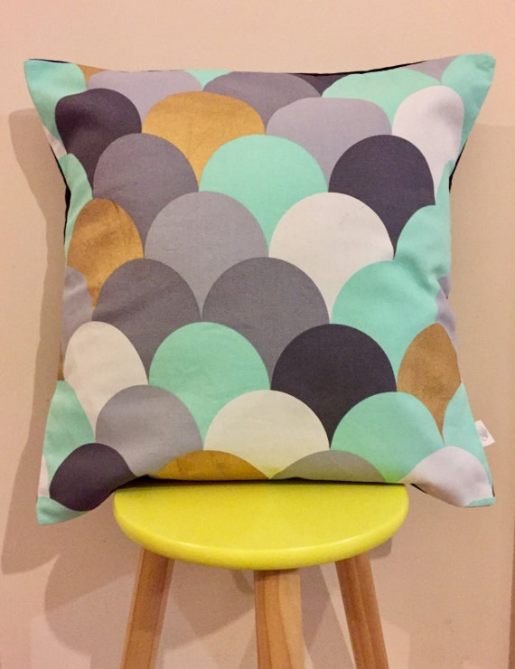 Teal, grey, gold scales cushion cover. Geometric stylish designer cover