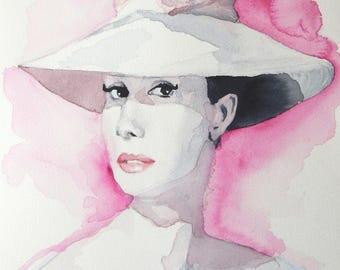 Original Audrey Hepburn Funny Face Inspired Illusrtation