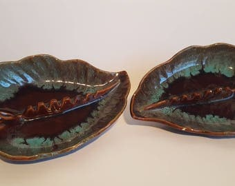 Mid Century Leaf Design Ashtrays - Set of 2