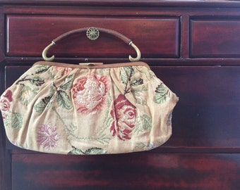 Embroidered Leather Purse 40s Vintage