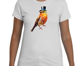 Bird Top Hat White TShirt Women