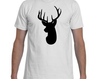 Deer Head Silhouette Black White TShirt Men