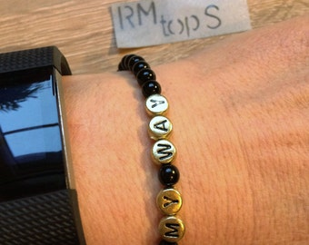 Bracelet name beads black gold personalized jewelry letter bracelet beads black gold name personalized jewelry letters