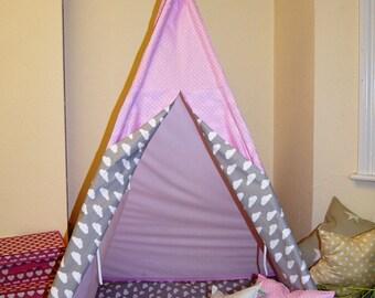 Pink with clauds Teepee, Wigwam, Kids Teepee, Playhouse, Kids teepee tent, Tipi Tent, Hand Made, Made to Order